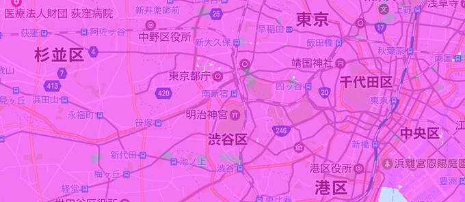 エリア内は濃いピンク色で覆われている サービスエリアマップ説明画像