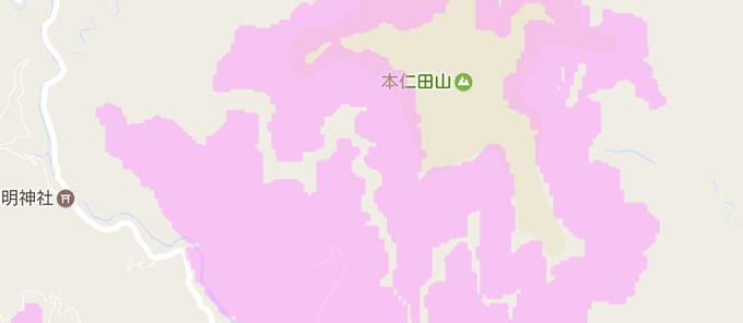 エリア中間はまばらにピンク色で覆われている サービスエリアマップ説明画像