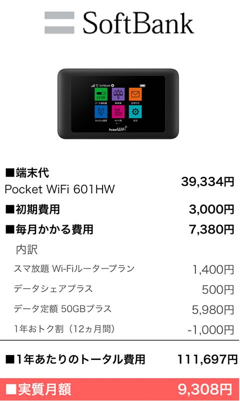 softbankポケットWiFiの費用