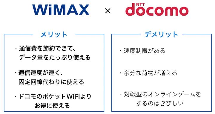 WiMAXとdocomoのメリットデメリット