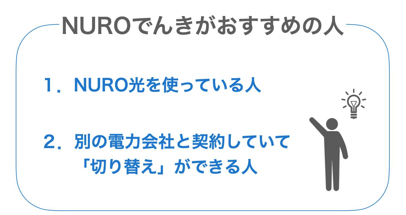 NUROでんきがおすすめの人