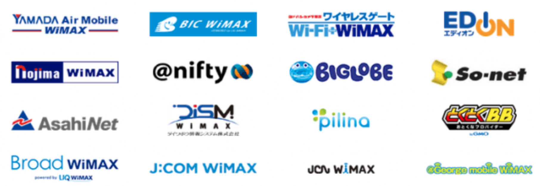 WiMAX プロバイダ種類