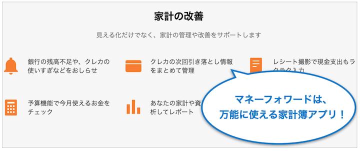 家計簿アプリ マネーフォワードME