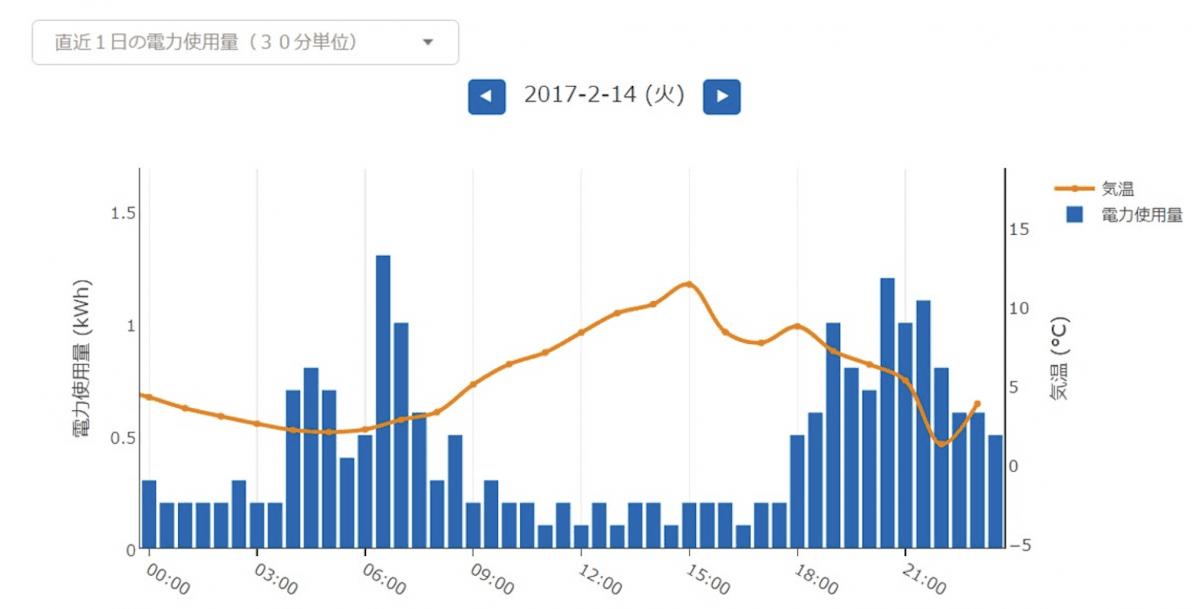 Looopでんき マイページ グラフ
